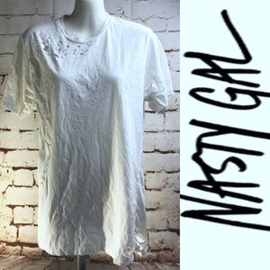 NEW Nasty Gal Short Sleeve White Deconstructed Tee